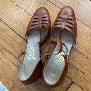 Salvatore Ferragamo T Strap Heels Brown Leather